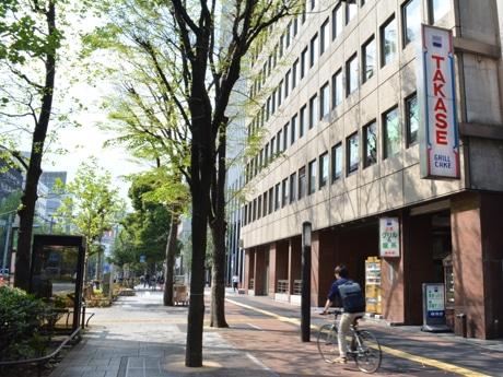 オープンカフェとマーケットが実施されるグリーン大通りの様子
