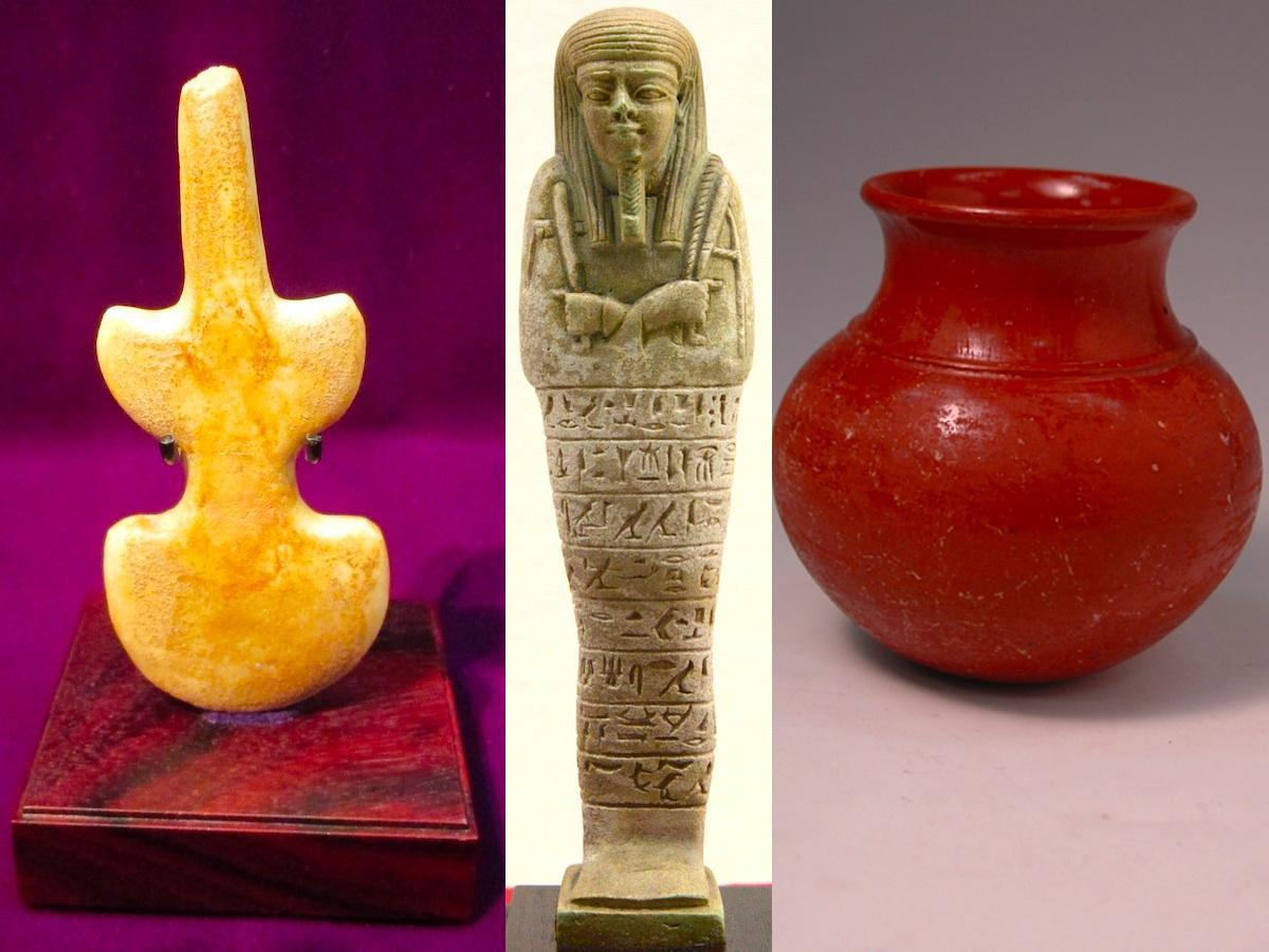 「大理石製ヴァイオリン型偶像(紀元前3200~2900年頃)」(左)、「プセムテクのウシェプティ(紀元前7世紀~4世紀)」(中央)、「赤色磨研壺(紀元前8世紀)」(右)