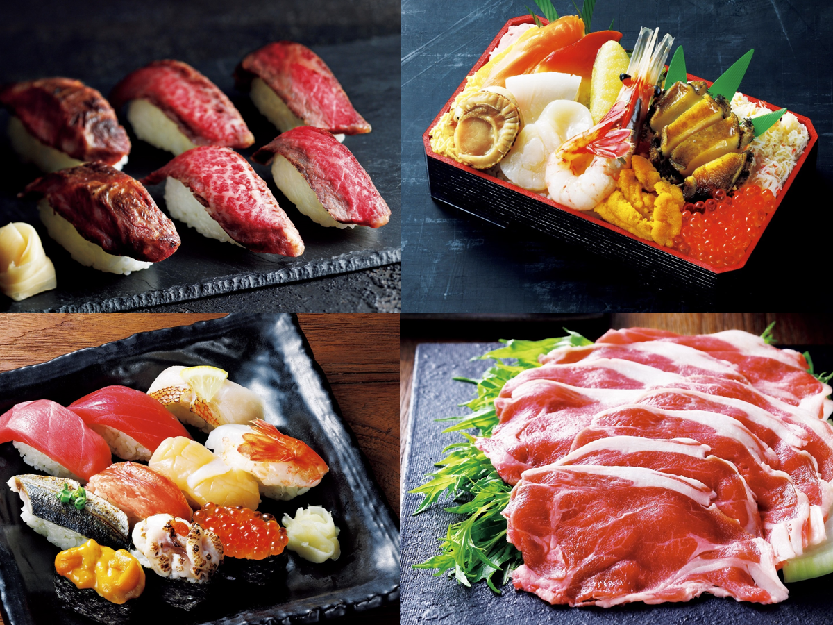 「白老牛ステーキ3種食べ比べ」(左上)、「海のや弁当」(右上)、「厳選握り」(左下)、「サフォークラムショルダーしゃぶしゃぶ用」(右下)