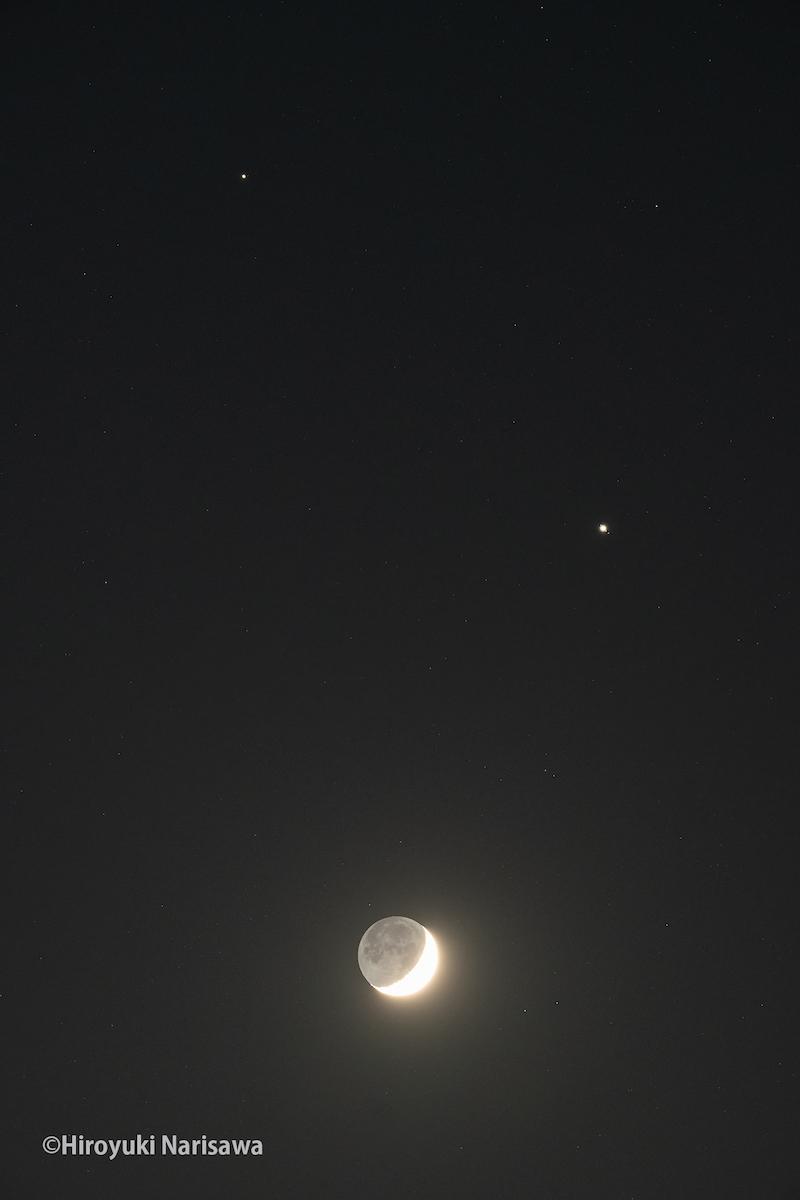 月と木星と土星が写った写真(観賞会当日は満月・木星・土星が並ぶ)