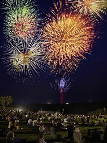 合歓の郷花火大会、グーグルマップでも確認できる巨大モンシロチョウ羽ばたく芝生の丘で
