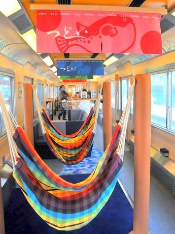 近鉄の観光列車「つどい」リニューアル-「ハンモック付き列車」に