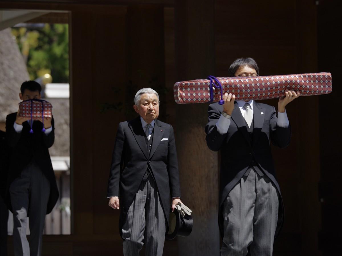 天皇皇后両陛下、伊勢神宮両宮に退位されることを報告する「親謁の儀」(写真=岩咲滋雨)外宮