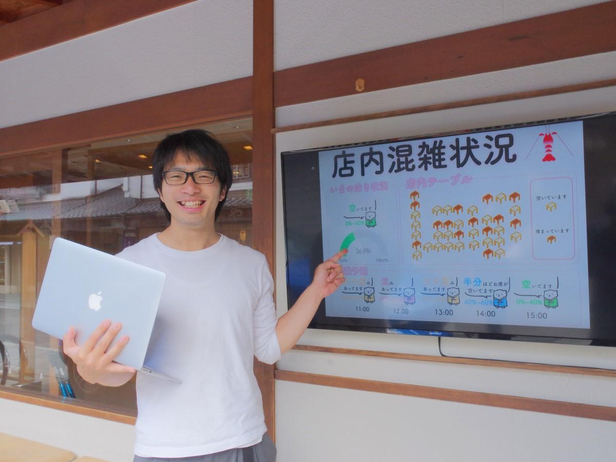 伊勢神宮内宮前飲食店「ゑびや」 通行者1500人、AIで店舗再開の指標に(写真は、店内の混雑状況をAIで可視化できるようにしたことを説明する平島優樹さん)