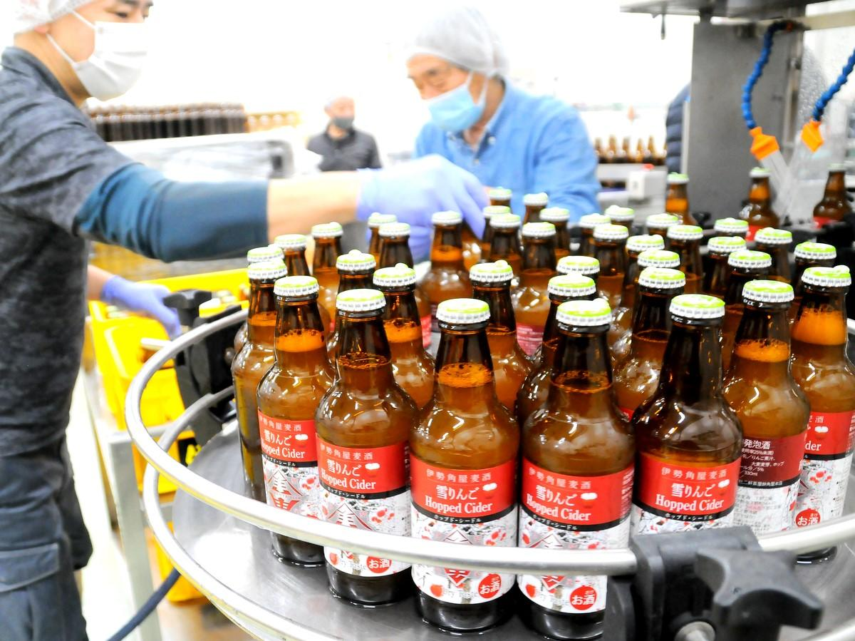 「伊勢角屋麦酒」初のホップドシードル 雪が積もって行き場を失った長野のリンゴ使用