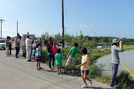 珍しい旅鳥「ソリハシセイタカシギ」に歓声をあげる参加者