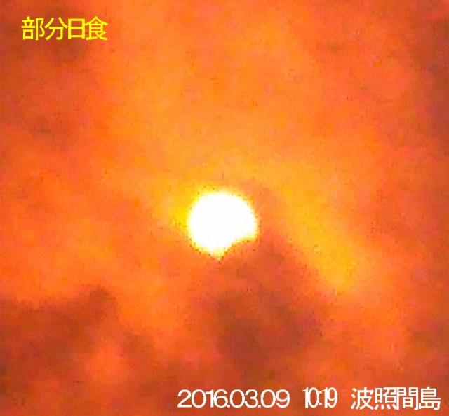 3月9日の部分日食(写真撮影=親盛早人さん・3月9日10時19分撮影)