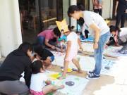 石垣のアートホテルで家族向けこいのぼりデザインイベント 10組が参加し中庭で掲揚式