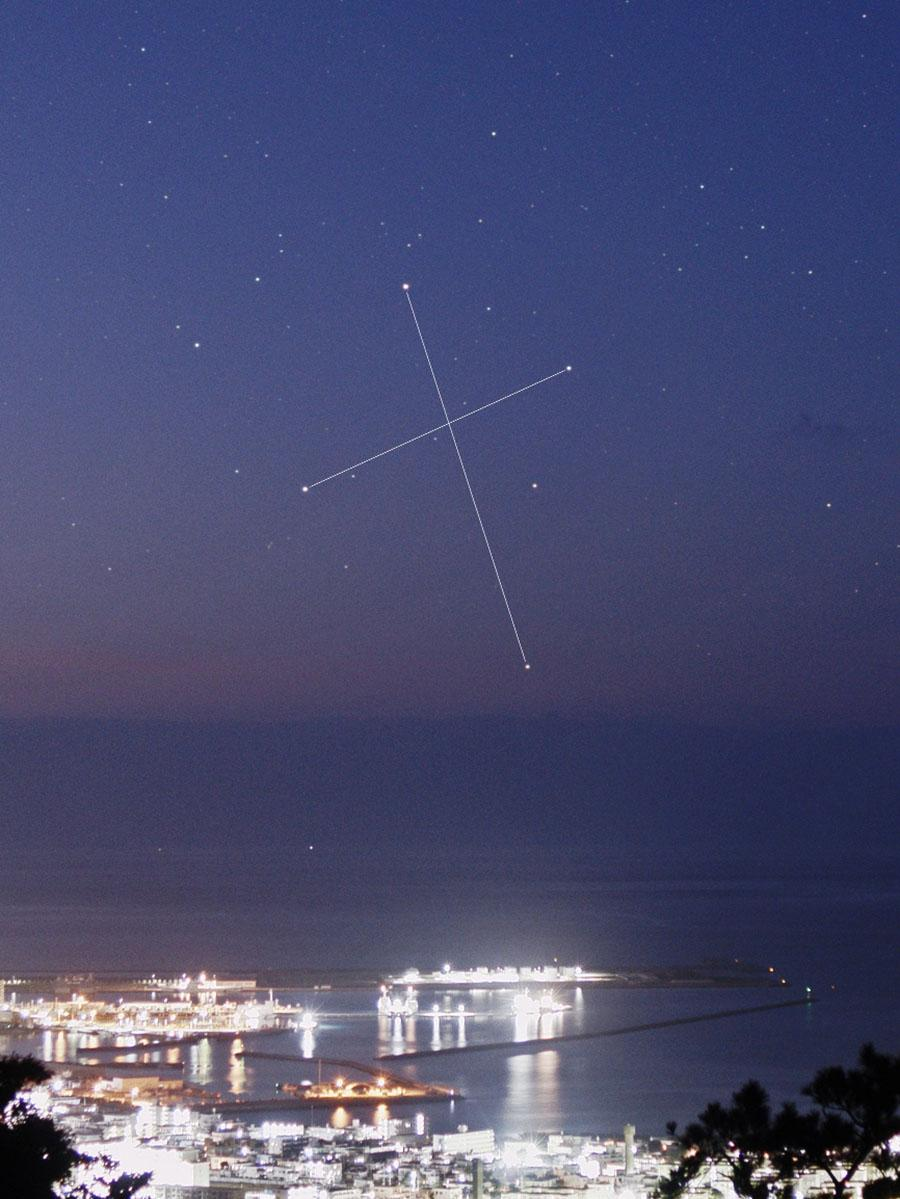 石垣島で観測された南十字星=20日午前6時28分撮影(提供:石垣島天文台)