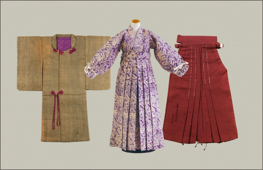 展示されている明治時代の「改良袴」や「女東コート」のひな形