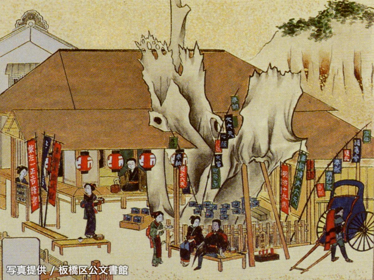 明治19年に描かれた「縁切榎茶屋風景図絵馬」を模写した図