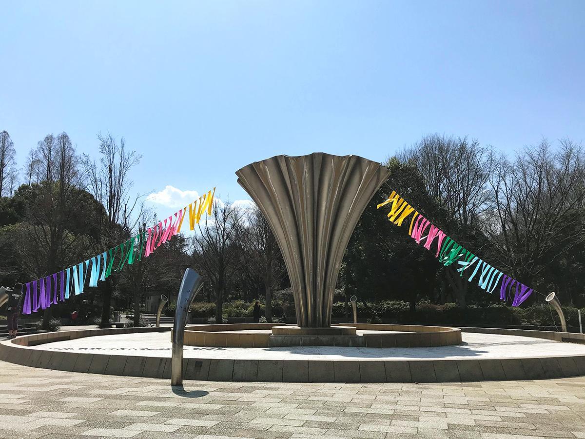 赤塚公園・噴水広場での展示準備の様子