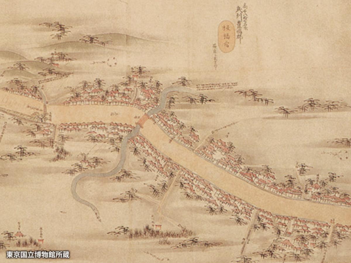 1800年頃「五街道分間延絵図(ごかいどうぶんけんのべえず)」に描かれた板橋宿