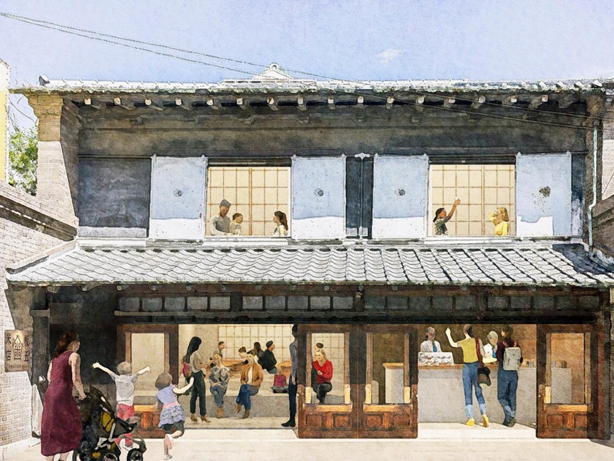 「板五米店-旅とお結び-」によるにぎわい店舗オープンイメージ図