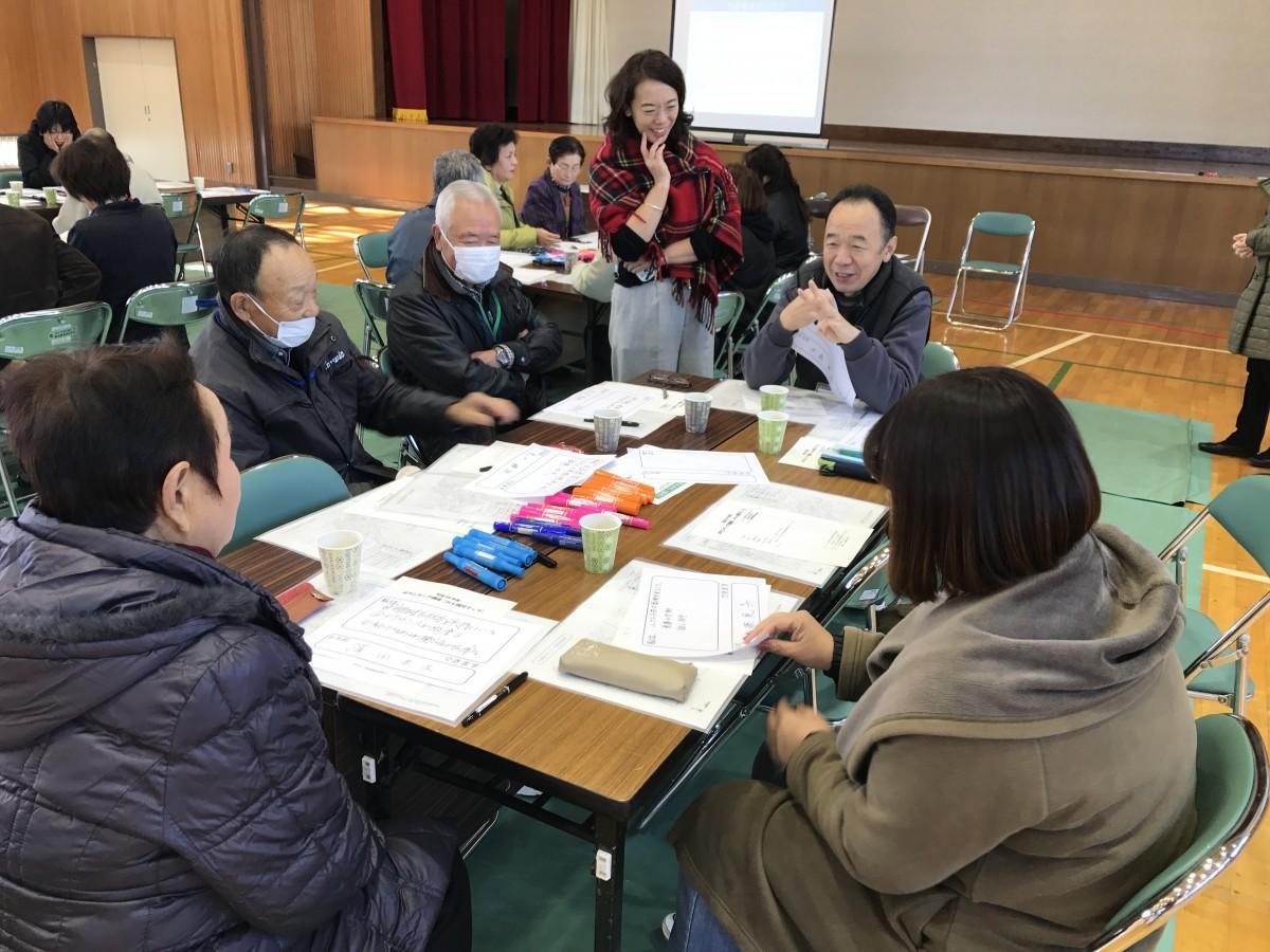 講師の鈴木さんとmy減災マップを作る参加者