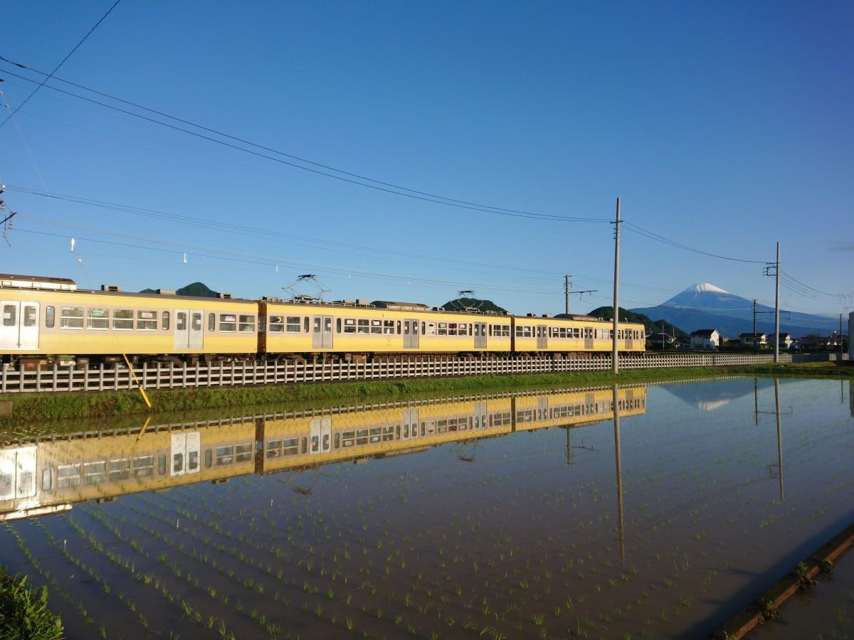 田園に映り込む、富士山とイエローパラダイストレイン(写真提供=井澤賀奈代さん)