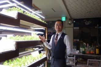 沼津のバー店内で水耕栽培 休業中の時間使い自家栽培学ぶ