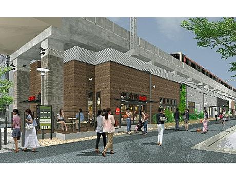 東横線・都立大学駅高架下に開業する商業施設(外観イメージ)