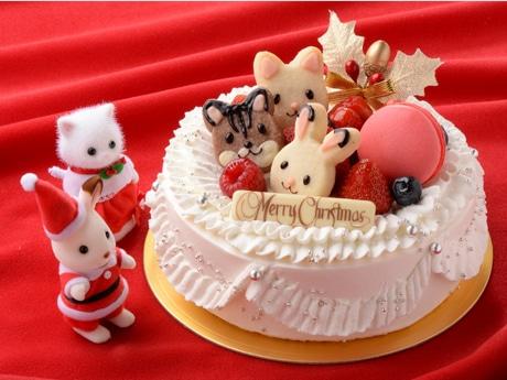 「シルバニアファミリー」キャラをかたどったクッキーをデコレーションクリスマス予約ケーキ、ベリーベリー「シルバニア・クリスマス プレミアムデコレーション」