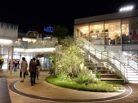 植栽や階段型ベンチを設けた「Trainchi 自由が丘」中央広場の様子、写真手前の階段は階段型ベンチ