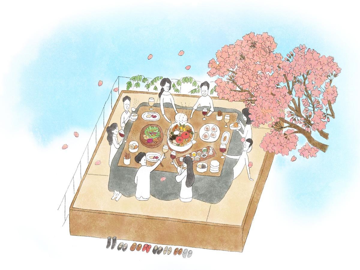 テラスに設置したこたつ席でおでんとお花見が楽しめる「テラス限定お花見コース」(イメージ)