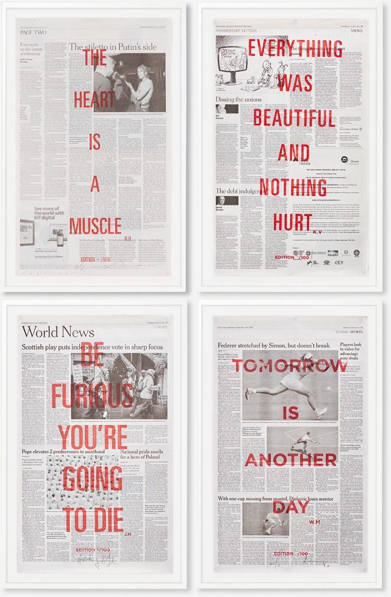 ニューヨーク・タイムズ紙面にこれまで影響やインスピレーションを受けた引用文、格言をレイアウトした「CHOPPED LIVER PRESS」ポスター作品
