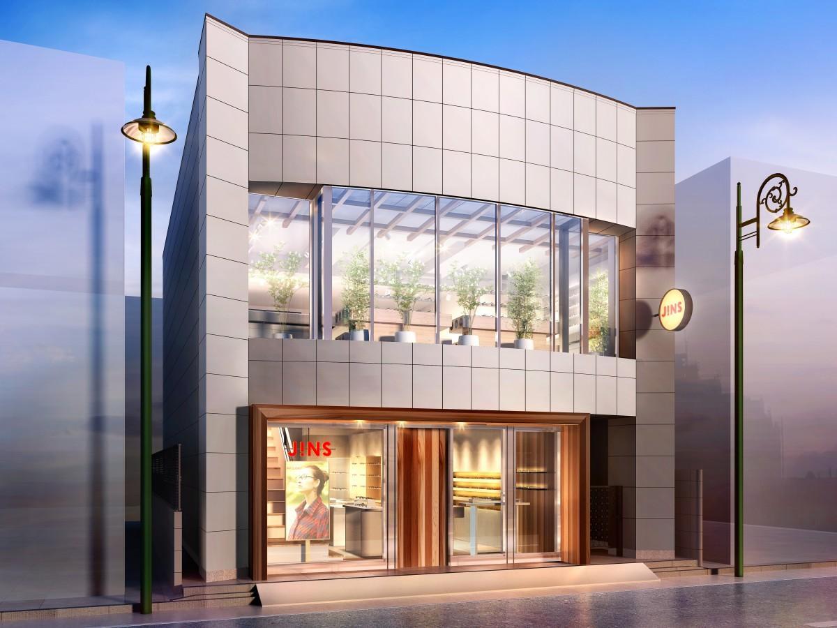 1階・2階の2フロア路面店舗「JINS 自由が丘店」店舗外観イメージ