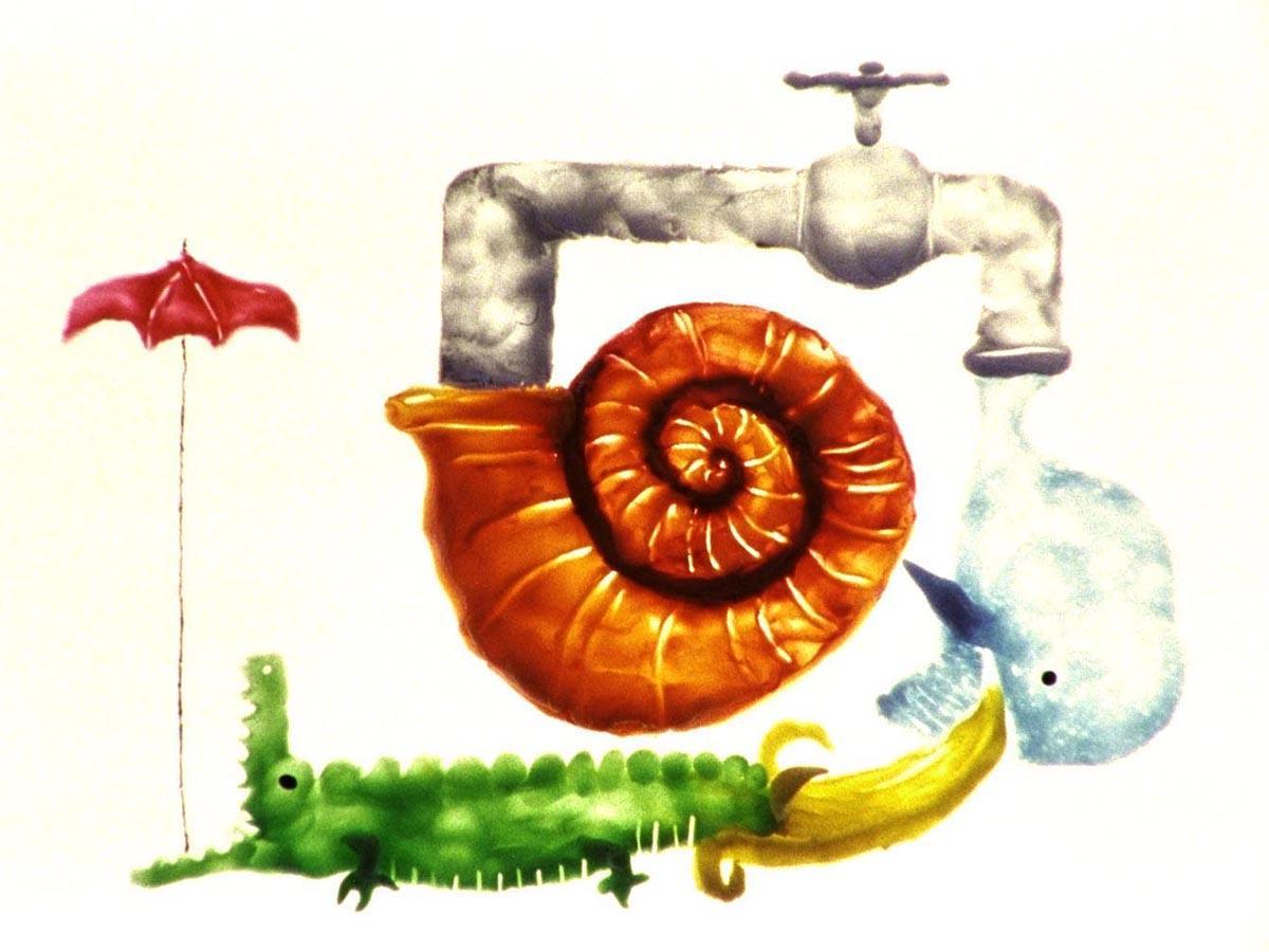 山村浩二さんが子ども向けに手掛けた短編アニメーション作品「カロとピヨブプト:あめのひ」(1992年)
