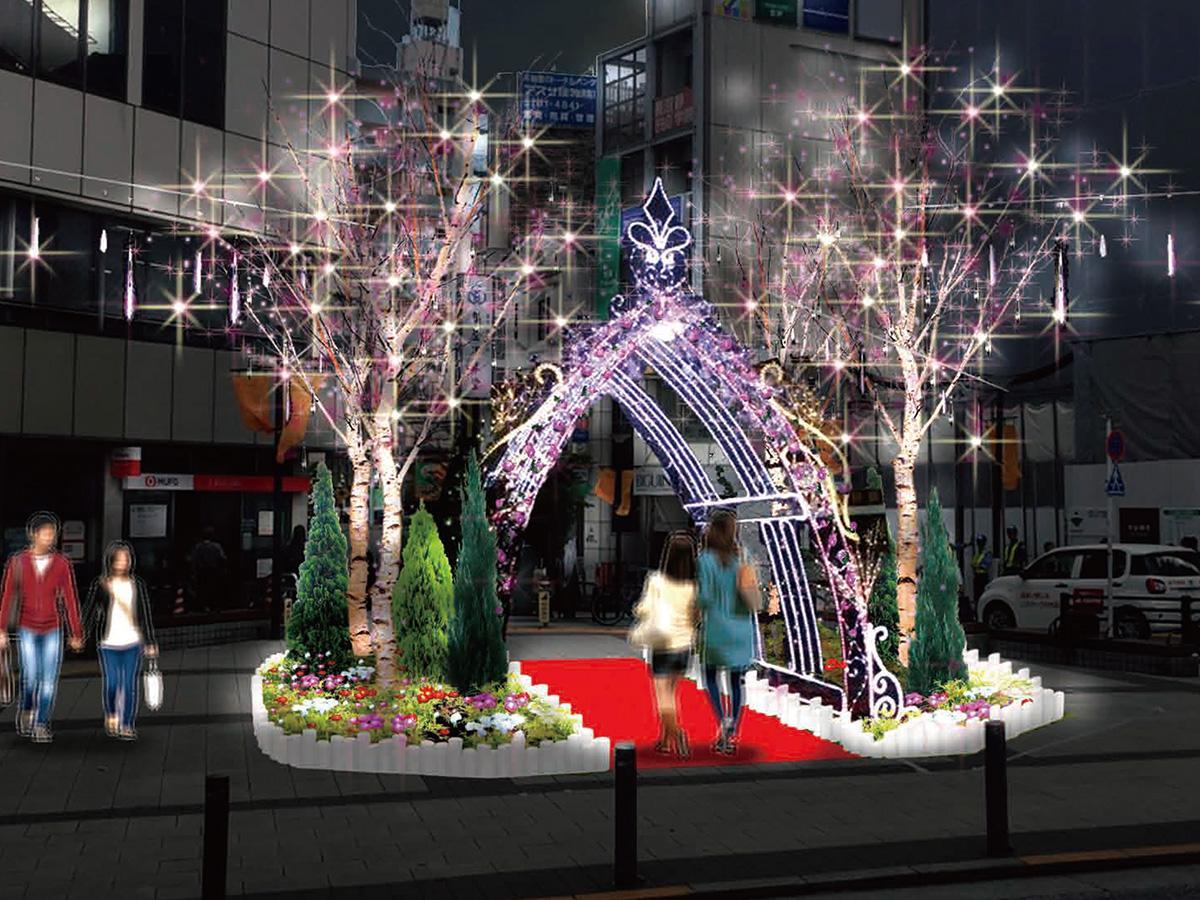 自由が丘の玄関口・駅前を彩る、高さ約4メートルのアーチ型イルミネーション「The Rose」(写真はイメージ図)