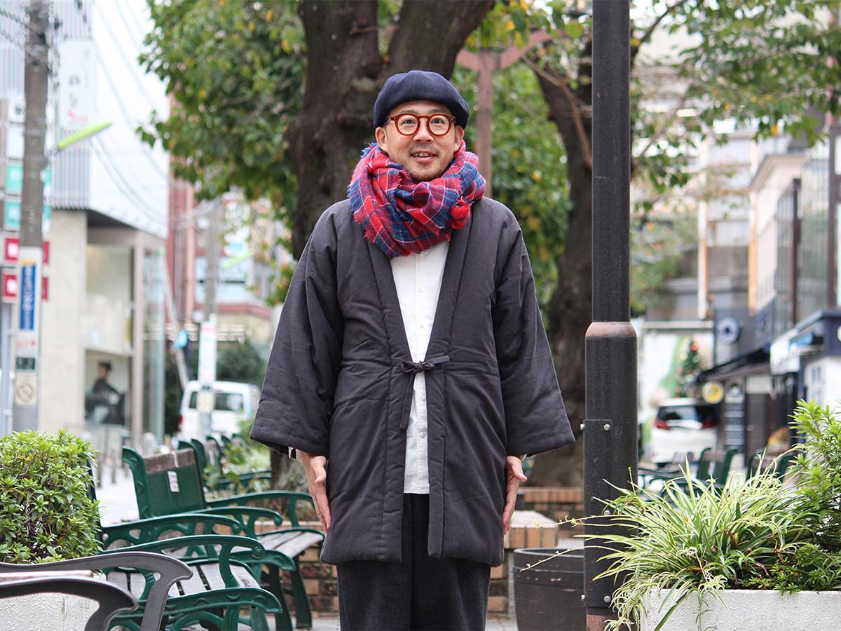 宮田織物の「綿入れはんてん」は現代にフィットしたデザインが特徴で、ダウン代わりに着こなす人も