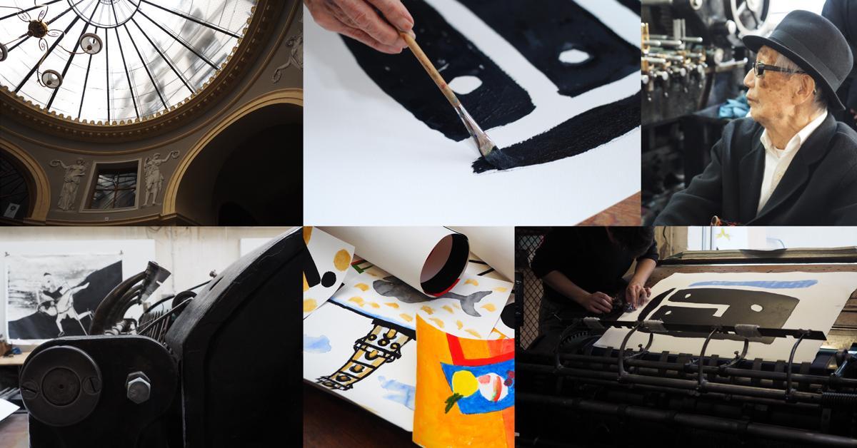 染色家・柚木沙弥郎さんと仏パリのリトグラフ工房「イデム・パリ」とのコラボレーションによる新作リトグラフ展「Swing Slow, Sweet Sammy!」イメージ(写真右上は柚木さん)