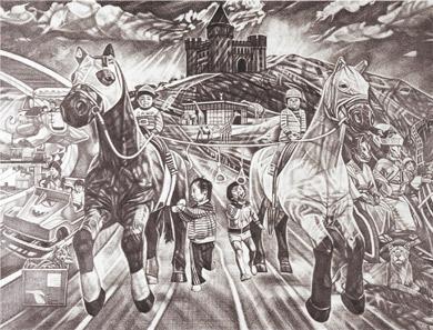 「第5回宮本三郎記念 デッサン大賞」大賞 植野 大作《思い出のコラージュ》2019年
