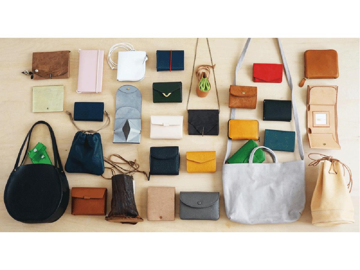 キャッシュレス決済の普及で流行が続くミニ財布とミニバッグを取りそろえた「小さな財布と小さなBAG展」