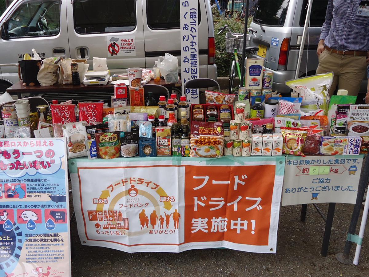家庭で食べきれず余っている食品を回収し、福祉施設などに提供する世田谷区の「フードドライブ」活動(写真は過去イベント開催時の様子)