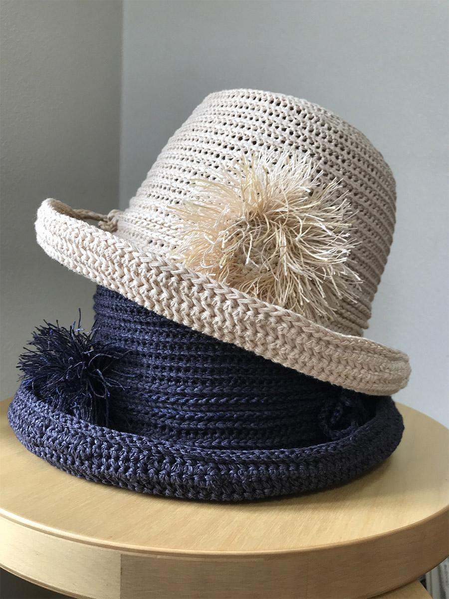 「個別手編み教室」で5月に取り組む「手編みの帽子 和紙」(写真は作品イメージ)
