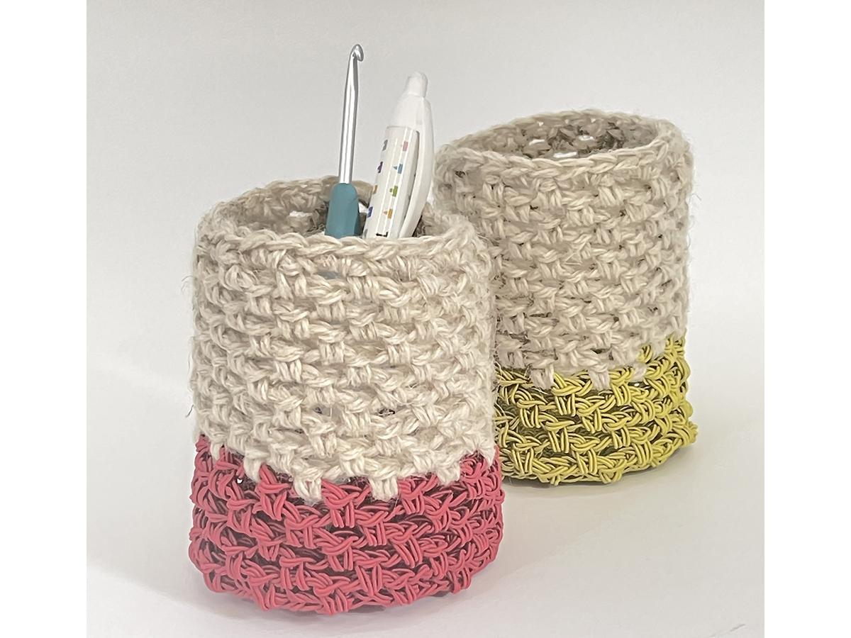 夏休みワークショップ・編み物教室で作る「ペン立て」