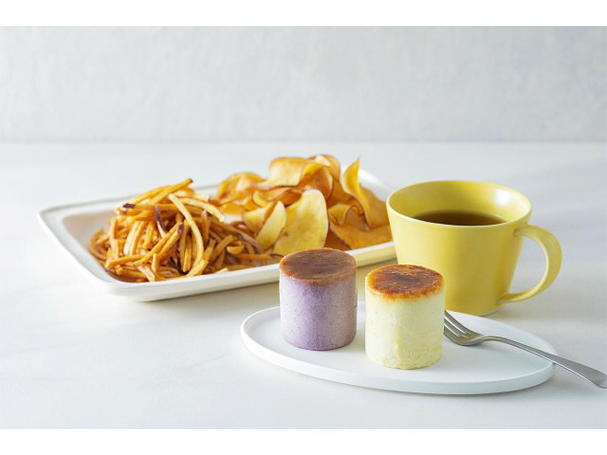 「有機さつま芋 芋菓」のメニュー(写真右から)「芋菓ふわふわスイートポテト」「有機芋チップス」「有機芋けんぴ」