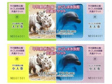 4月1日から販売の「共通チケット」。チケットの左端が「平川動物公園」のチケット、右端が「かごしま水族館」のチケットになっている。
