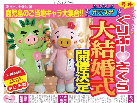 鹿児島県のPRキャラクター「ぐりぶー」と幼なじみの「さくら」が結婚することが分かった。3月15日には大結婚式が予定されている。