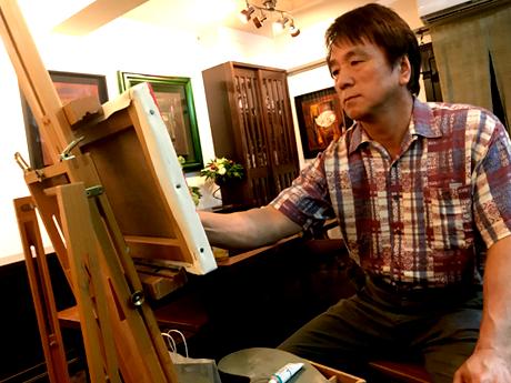 鹿児島桜島を描く画家・有馬広文さん