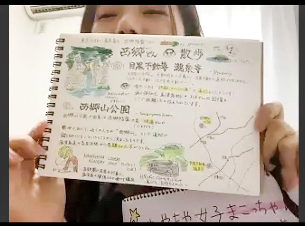 自作の散歩ガイドを紹介する木原眞琴さん
