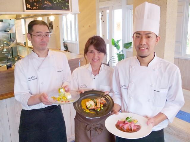 料理担当の山本さん(左)オーナーの小寺さん(中)料理長の木本さん