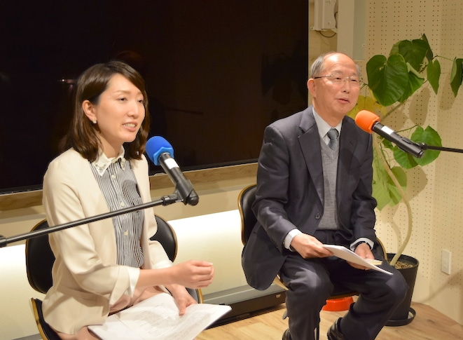 藤田貴子さん(左)と岩坂純一郎さん(右)