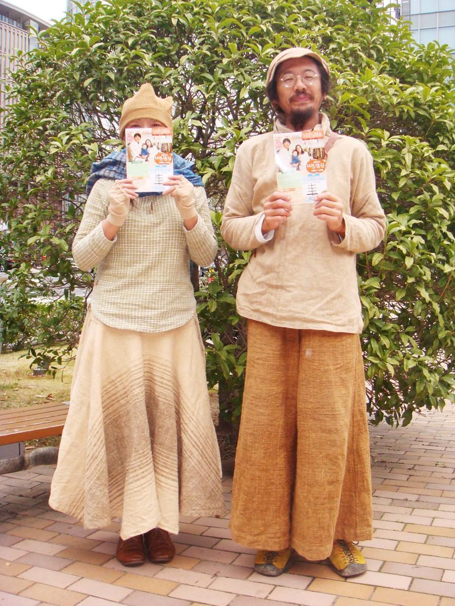 展示販売会をPRするしらいさん(左)と野澤さん