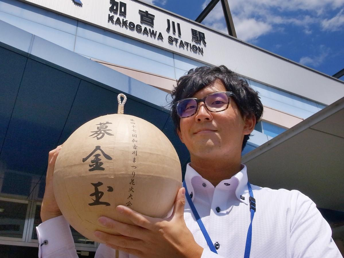 1尺玉をもつ実行委員会の堀江さん