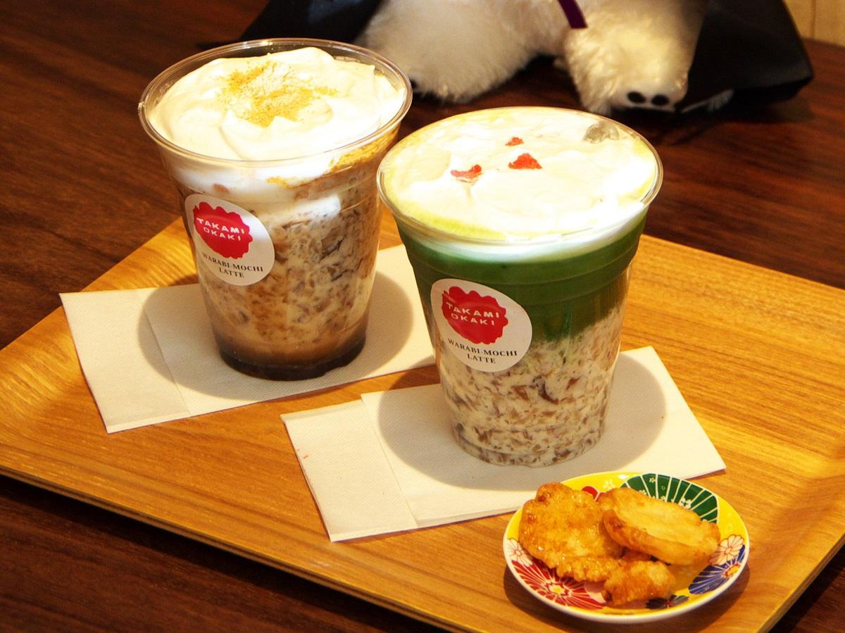 「黒糖きなこわらび餅ラテ」(左)、「恋・抹茶わらび餅ラテ」(右)