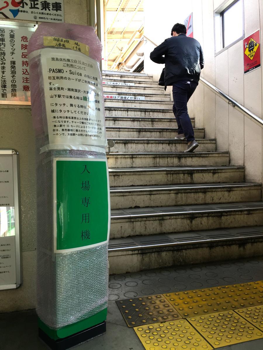 湘南深沢駅に設置され、4月1日からの稼働を待つ入場用簡易改札機