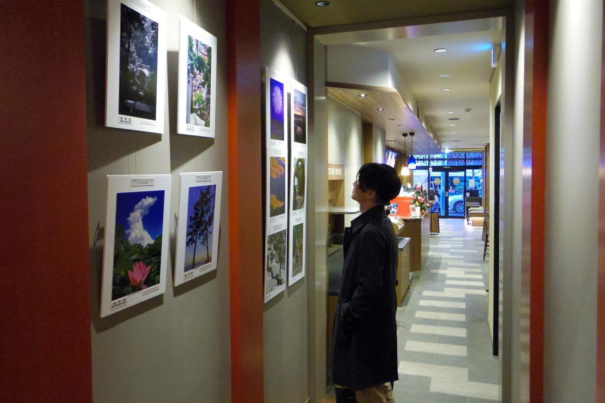 同店は奥行き37メートル。奥へつながる参道に見立てた通路の壁面のほかブースなどに作品を展示している