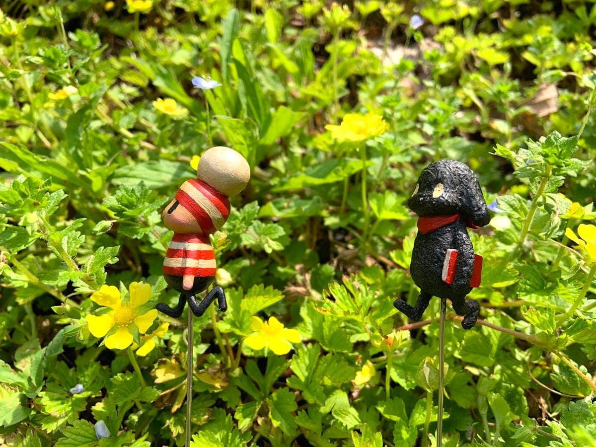 キャラクターの立体人形を貸し出す「オチビサンとたからの庭の風景360度撮影会」は1回15分、料金500円