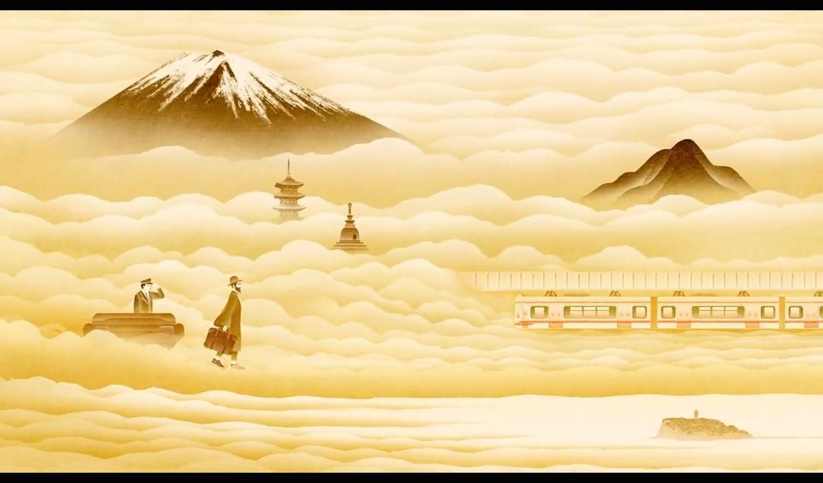 ポスターの世界観が動き出すムービーのワンシーン。雲海に富士山や丹沢の山並み、足下の龍口寺や江の島なども見える